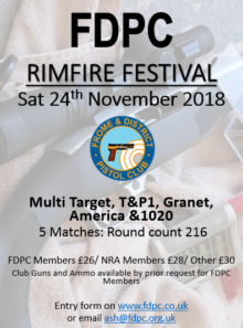 FDPC Rimfire Festival @ Frome & District Pistol Club | Shepton Mallet | England | United Kingdom